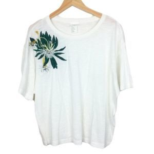 H&M x ANNA GLOVER Oversized White Embellished Tee